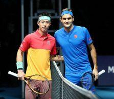 La caduta di Roger Federer contro Kei Nishikori
